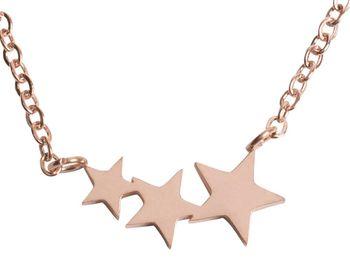 styleBREAKER Edelstahl Halskette mit 3 kleine Sterne Anhänger, Ankerkette, Karabiner Verschluss, Kette, Schmuck, Damen 05030039 – Bild 1