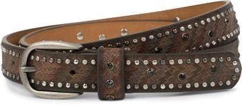styleBREAKER schmaler Nietengürtel mit Strass und Streifen, Vintage Gürtel, kürzbar, Damen 03010083 – Bild 1