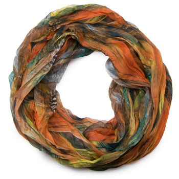 styleBREAKER feather pattern batik style loop tube scarf, crash and crinkle, silky and light 01016064 – Bild 6