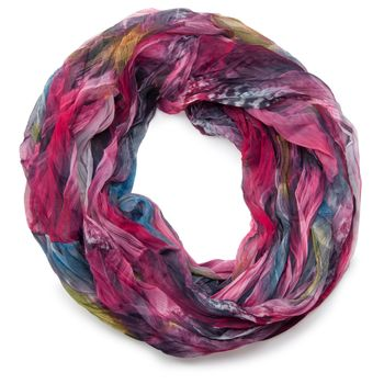 styleBREAKER feather pattern batik style loop tube scarf, crash and crinkle, silky and light 01016064 – Bild 5