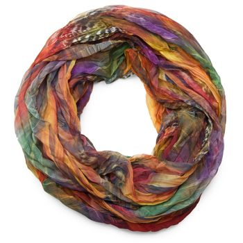 styleBREAKER feather pattern batik style loop tube scarf, crash and crinkle, silky and light 01016064 – Bild 1