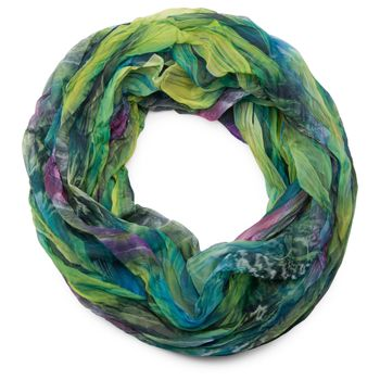 styleBREAKER feather pattern batik style loop tube scarf, crash and crinkle, silky and light 01016064 – Bild 2
