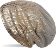 styleBREAKER warme Feinstrick Beanie Mütze mit Metallic Print und Fleece Innenfutter, Slouch Longbeanie, Unisex 04024132 – Bild 6