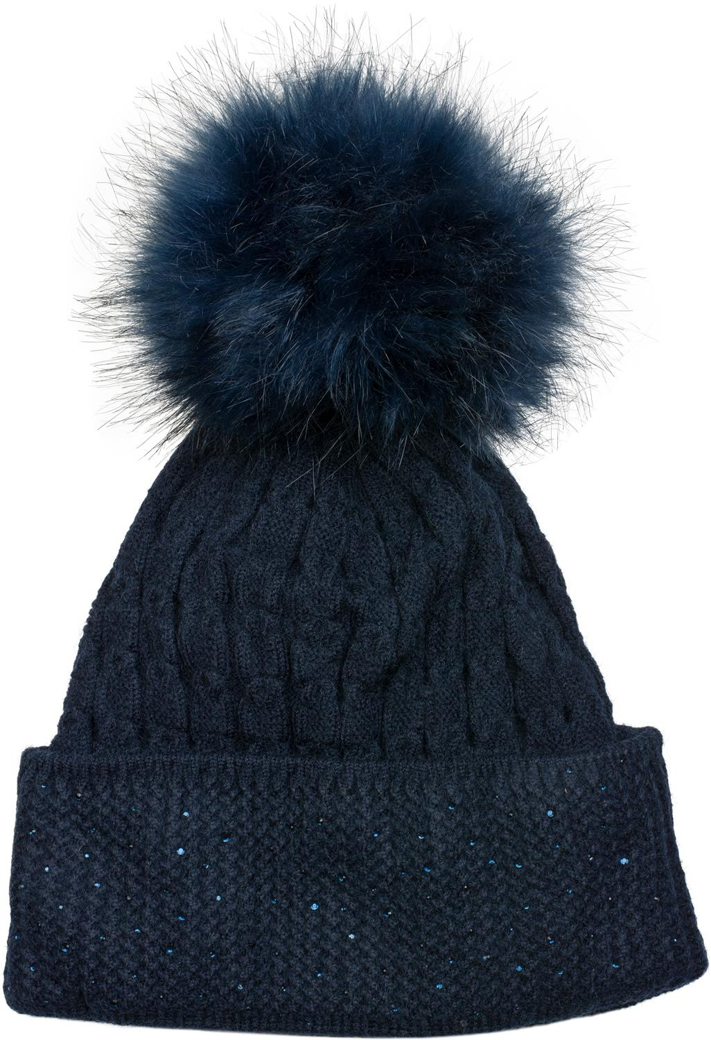 fb50310fcfb styleBREAKER soft fine-knit bobble hat with rhinestone and removable faux  fur pompom