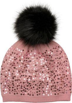 styleBREAKER Feinstrick Bommelmütze mit Pailletten und abnehmbarem Kunstfell Bommel, Fellbommel Mütze, Damen 04024134 – Bild 10