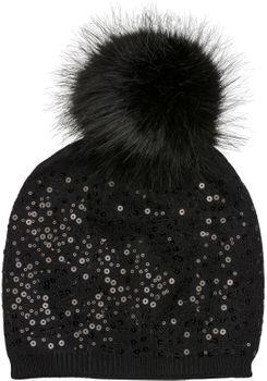 styleBREAKER Feinstrick Bommelmütze mit Pailletten und abnehmbarem Kunstfell Bommel, Fellbommel Mütze, Damen 04024134 – Bild 5