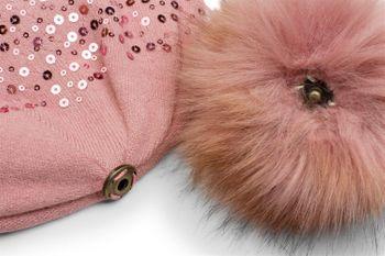 styleBREAKER Feinstrick Bommelmütze mit Pailletten und abnehmbarem Kunstfell Bommel, Fellbommel Mütze, Damen 04024134 – Bild 9