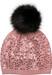 styleBREAKER Feinstrick Bommelmütze mit Pailletten und abnehmbarem Kunstfell Bommel, Fellbommel Mütze, Damen 04024134
