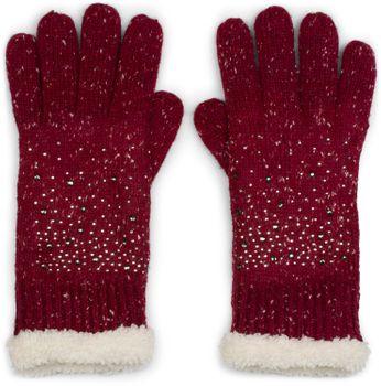 styleBREAKER Damen Handschuhe mit Strass und Fleece, warme Thermo Strickhandschuhe, Fingerhandschuhe, Winter 09010010 – Bild 5