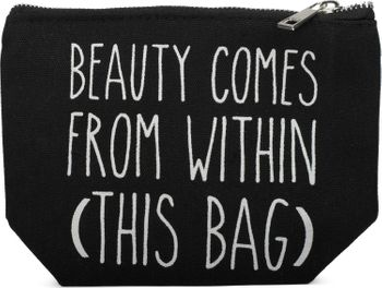 styleBREAKER Statement Beautybag mit 'BEAUTY COMES FROM WITHIN' Aufdruck, Kosmetiktasche, Make Up Bag, Tasche, Damen 02013006 – Bild 1
