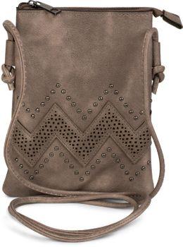 styleBREAKER Mini Bag Umhängetasche mit Zick-Zack Cutout und Nieten, Schultertasche, Handtasche, Tasche, Damen 02012211 – Bild 3