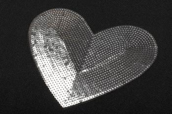 styleBREAKER Einkaufstasche mit Pailletten Herz Applikation, Tragetasche, Canvas Stofftasche, Tasche, Unisex 02012212 – Bild 6