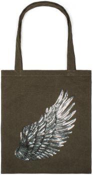 styleBREAKER Einkaufstasche mit Pailletten Flügel Applikation, Tragetasche, Canvas Stofftasche, Tasche, Unisex 02012213 – Bild 5