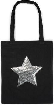 styleBREAKER Einkaufstasche mit Pailletten Stern Applikation, Tragetasche, Canvas Stofftasche, Tasche, Unisex 02012214 – Bild 2