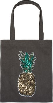 styleBREAKER Einkaufstasche mit Pailletten Ananas Applikation, Tragetasche, Canvas Stofftasche, Tasche, Unisex 02012215 – Bild 3