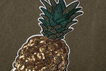 styleBREAKER Einkaufstasche mit Pailletten Ananas Applikation, Tragetasche, Canvas Stofftasche, Tasche, Unisex 02012215 – Bild 9