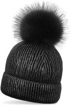 styleBREAKER warme Metallic Strick Bommelmütze mit abnehmbarem Kunstfell Bommel, Winter Fellbommel Mütze, Damen 04024138 – Bild 1