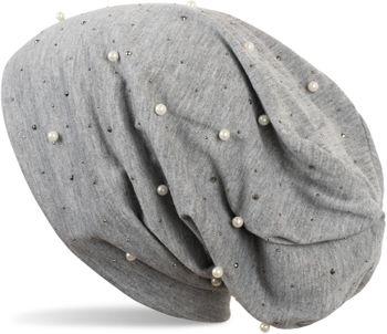 styleBREAKER Beanie Mütze mit Perlen und Strass Nieten, Slouch Longbeanie, Damen 04024140 – Bild 7