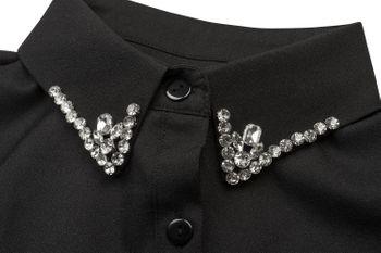 styleBREAKER Damen Blusenkragen Einsatz mit Knopfleiste und Strass, verzierter Kragen für Blusen und Pullover 08020001 – Bild 2