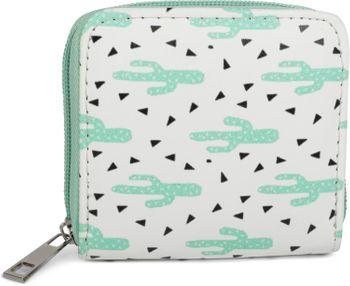 styleBREAKER Mini Geldbörse mit Kaktus Muster, umlaufender Reißverschluss, Portemonnaie, Damen 02040096 – Bild 1