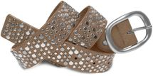 styleBREAKER studded belt in vintage style with different sized flat rivets, shortened 03010022 – Bild 7