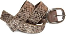 styleBREAKER studded belt in vintage style with different sized flat rivets, shortened 03010022 – Bild 2