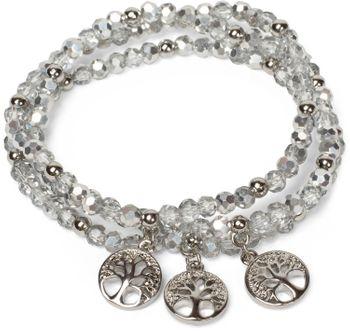 styleBREAKER 3er Set Perlen Armband mit Lebensbaum Charm Anhänger, Gummizug, Kugelarmband, Schmuck, Damen 05040138 – Bild 8