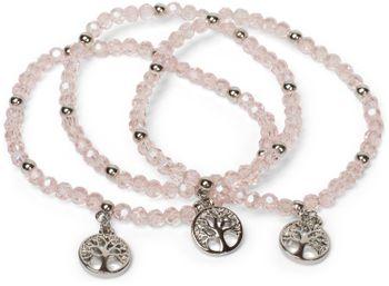 styleBREAKER 3er Set Perlen Armband mit Lebensbaum Charm Anhänger, Gummizug, Kugelarmband, Schmuck, Damen 05040138 – Bild 1