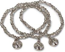 styleBREAKER 3er Set Perlen Armband mit Lebensbaum Charm Anhänger, Gummizug, Kugelarmband, Schmuck, Damen 05040138 – Bild 13