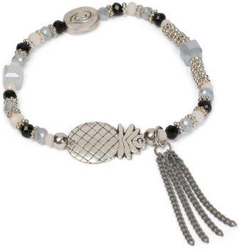 styleBREAKER Perlen Armband mit Ananas, Kette und Perlen, Gummizug, Stretcharmband, Schmuck, Damen 05040141 – Bild 4