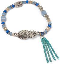 styleBREAKER Perlen Armband mit Ananas, Kette und Perlen, Gummizug, Stretcharmband, Schmuck, Damen 05040141 – Bild 2