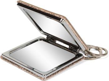 styleBREAKER eckiger Taschenspiegel mit Strass Anker und Kette, 1X / 3X Vergrößerung, Kompaktspiegel, klappbar, 2 Seiten 05070005 – Bild 4