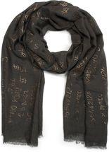 styleBREAKER unifarbener Schal mit Glitzer Metallic Schrift und Fransen, Tuch, Damen 01016151 – Bild 5