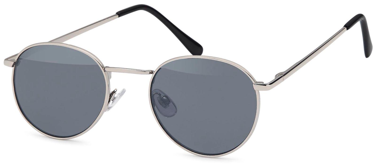 styleBREAKER Sonnenbrille in Panto-Form mit runden Flachgläsern und Metall Bügel, Unisex 09020077, Farbe:Gestell Anthrazit / Glas Grau Verlauf