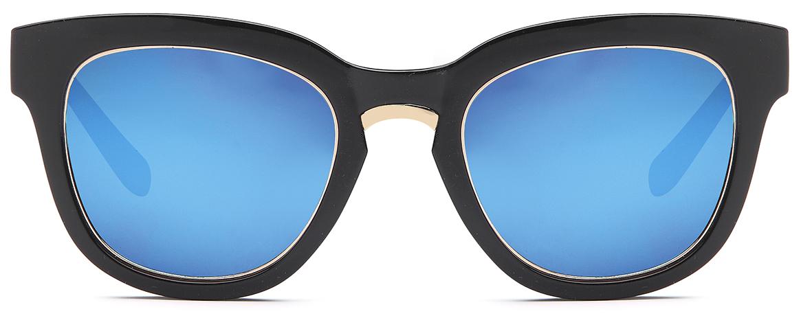 styleBREAKER Nerd Sonnenbrille mit breitem Kunststoff Rahmen und Metall umrandeten Oval Flachgläsern, Kunststoff Bügel, Damen 09020082, Farbe:Gestell Braun-Gold / Glas Braun Verlauf