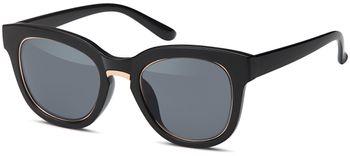 styleBREAKER Nerd Sonnenbrille mit breitem Kunststoff Rahmen und Metall umrandeten Oval Flachgläsern, Kunststoff Bügel, Damen 09020082 – Bild 1