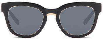 styleBREAKER Nerd Sonnenbrille mit breitem Kunststoff Rahmen und Metall umrandeten Oval Flachgläsern, Kunststoff Bügel, Damen 09020082 – Bild 11