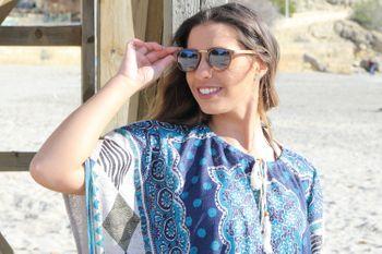 styleBREAKER Sonnenbrille in Holz Optik und runden Gläsern, Kunststoff-Metall-Gestell, Unisex 09020083 – Bild 22
