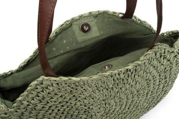 styleBREAKER runde Korbflecht Schultertasche, Strandtasche mit langen Henkeln, Flechttasche, Tasche geflochten, Shopper, Damen 02012232 – Bild 15