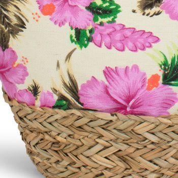 styleBREAKER Strandtasche mit buntem Hibiskus Blüten Print, Bast am Boden und Reißverschluss, Schultertasche, Shopper, Damen 02012233 – Bild 12