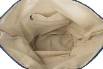 styleBREAKER Strandtasche mit buntem Hibiskus Blüten Print, Bast am Boden und Reißverschluss, Schultertasche, Shopper, Damen 02012233 – Bild 13