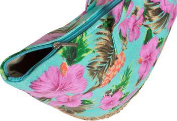 styleBREAKER Strandtasche mit buntem Hibiskus Blüten Print, Bast am Boden und Reißverschluss, Schultertasche, Shopper, Damen 02012233 – Bild 8