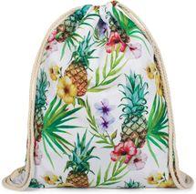 styleBREAKER Tropic Turnbeutel mit All Over Ananas, Blumen, Blüten, Palmen Print, Rucksack, Sportbeutel, Beutel, Unisex 02012236 – Bild 1