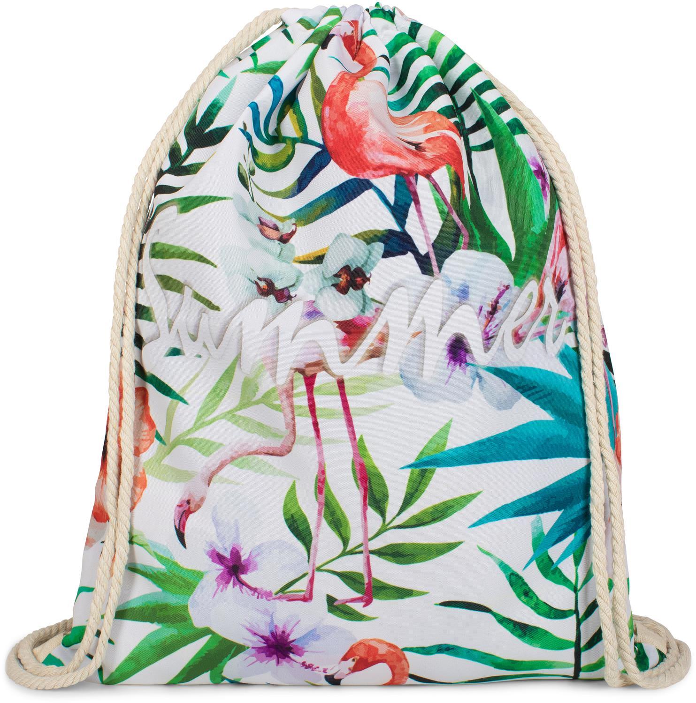 turnbeutel summer mit flamingo blumen und palmen 1527. Black Bedroom Furniture Sets. Home Design Ideas