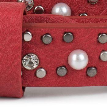 styleBREAKER schmaler Gürtel mit Nieten, Perlen und Strass, Vintage Nietengürtel, kürzbar, Damen 03010086 – Bild 16