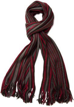 styleBREAKER Feinstrick Herren Schal im Streifen Look, Strickschal mit Fransen, weich und warm 01018117 – Bild 9