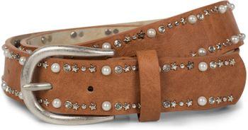 styleBREAKER Gürtel mit Perlen, Strass und Stern Nieten, Vintage Nietengürtel, kürzbar, Damen 03010087 – Bild 1