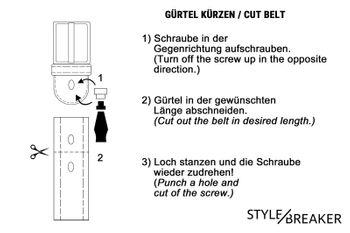 styleBREAKER Gürtel mit zweifarbigen Nieten an der Schlaufe, Nietengürtel, kürzbar, Unisex 03010088 – Bild 35