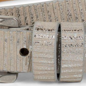 styleBREAKER schmaler unifarbener Gürtel mit Metallic Streifen, Vintage, kürzbar, Damen 03010089 – Bild 12