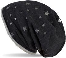 styleBREAKER Beanie Mütze mit all over Metallic Sterne Print mit Rollrand, Slouch Longbeanie, Glitzermütze, Damen 04024144 – Bild 1